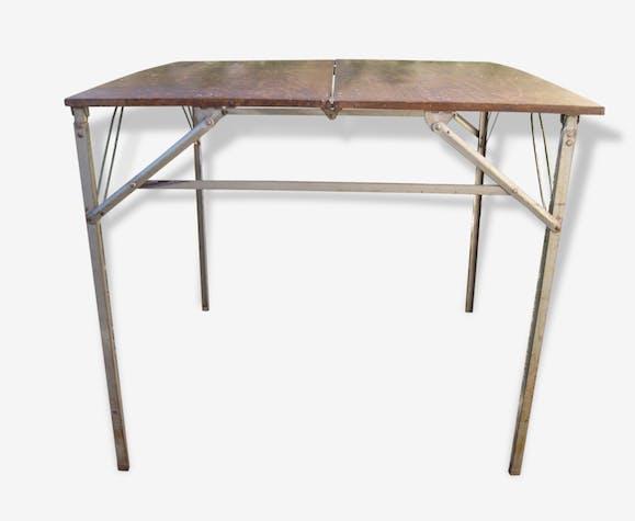 Nique Vintage Ancienne Métal Bois Pique Table Pliante bvf7yY6g