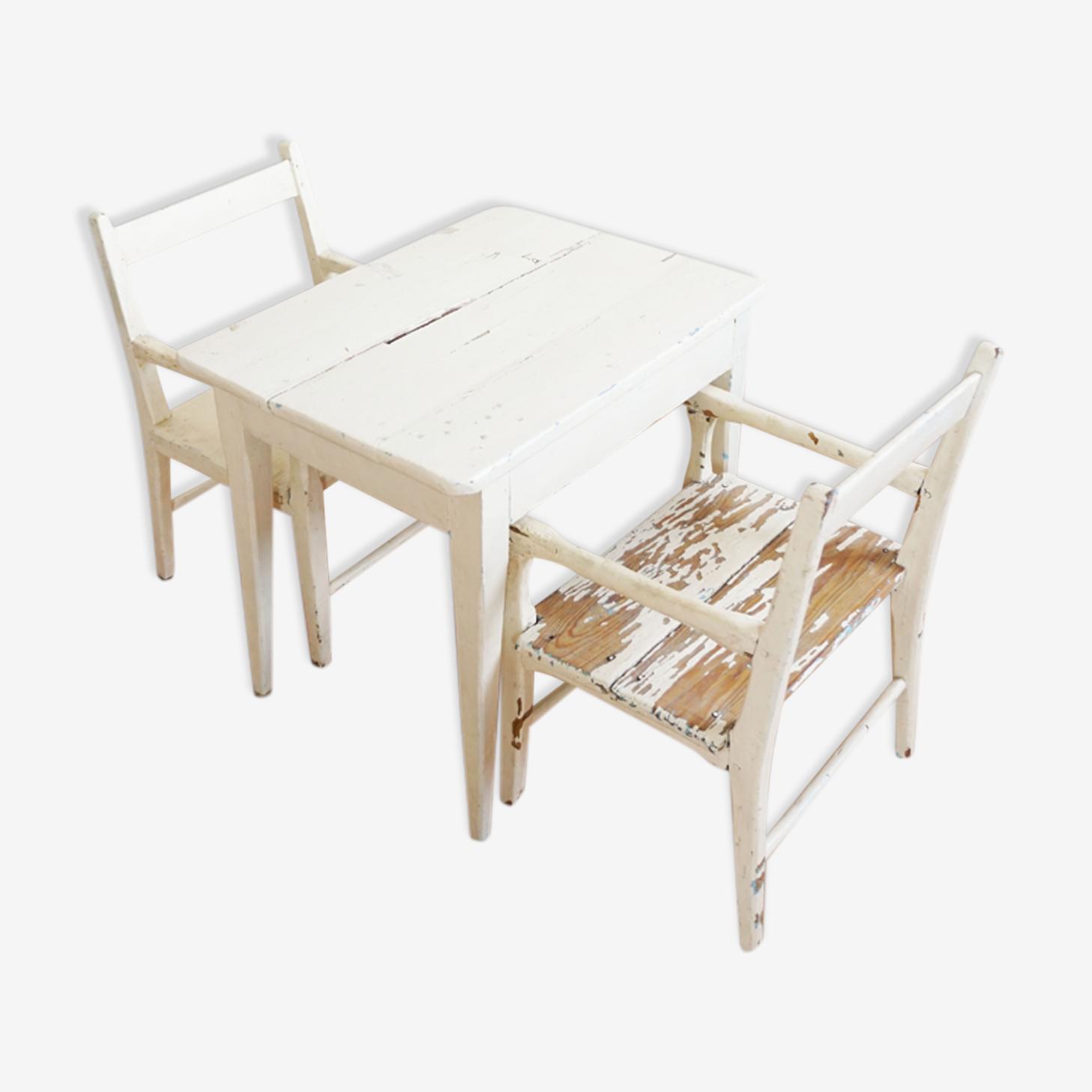 Table et fauteuils enfants bois blanc patiné