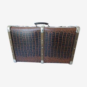 Croco print trunk suitcase