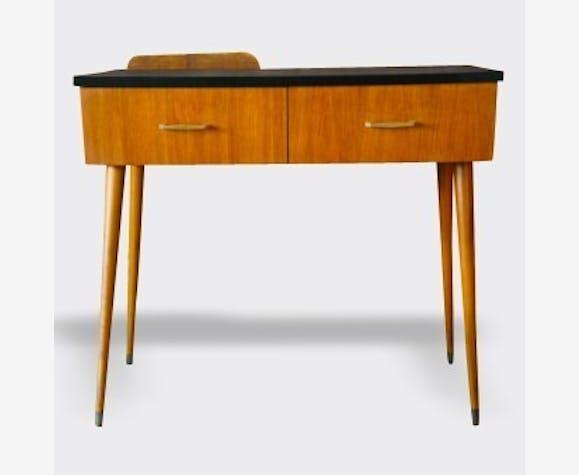 Bureau console noir bois matériau noir vintage 3702