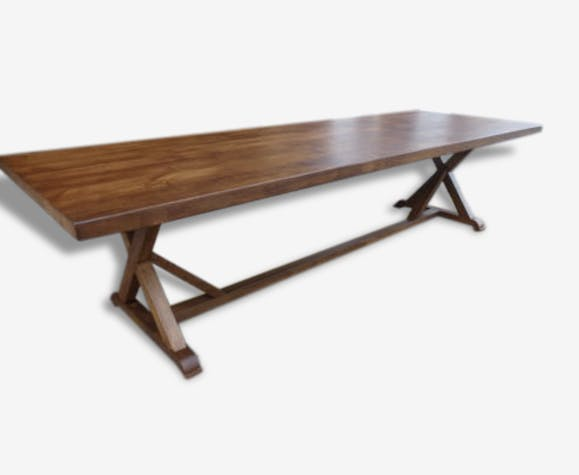 tr s grande table de ferme en ch ne massif de 2 5 m restaurant h te salle manger bois. Black Bedroom Furniture Sets. Home Design Ideas