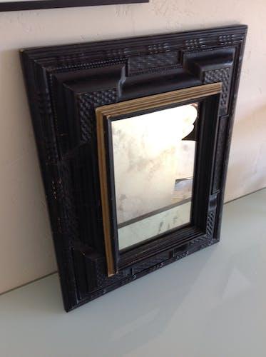 Miroir rectangulaire noir et or style art déco 50x41cm