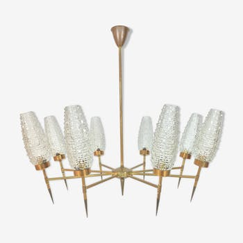 50s chandelier, 8 fires, brass and ice glass tulips
