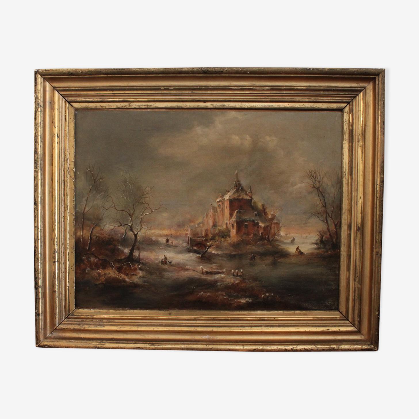 Oil on canvas of Schelfhout, school Dutch XIX