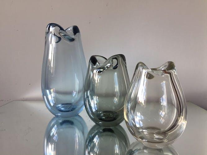 Ensemble de 3 vases Holmegaard par 'Per Lutken 1954