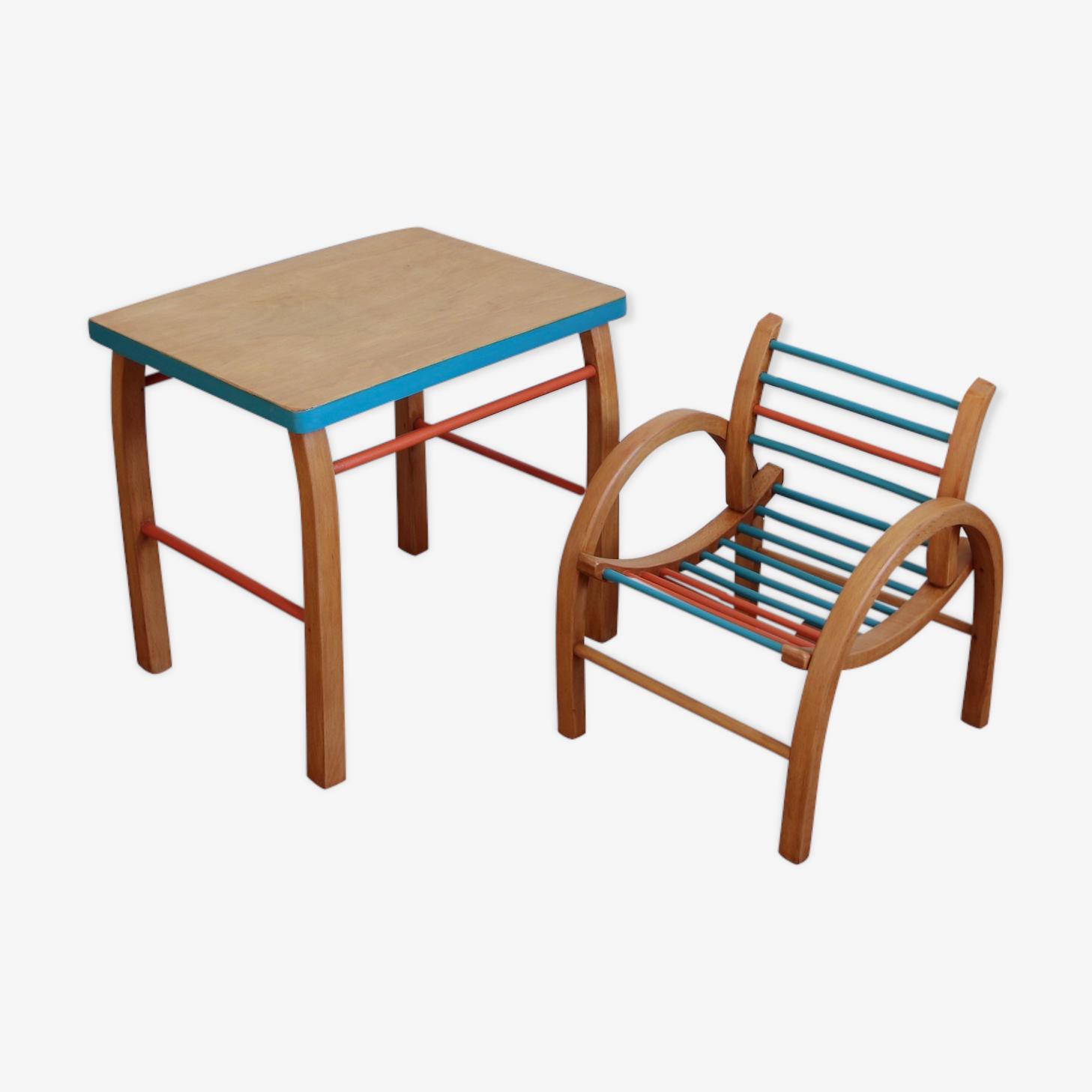 Ensemble bureau et chaise en bois courbé années 50