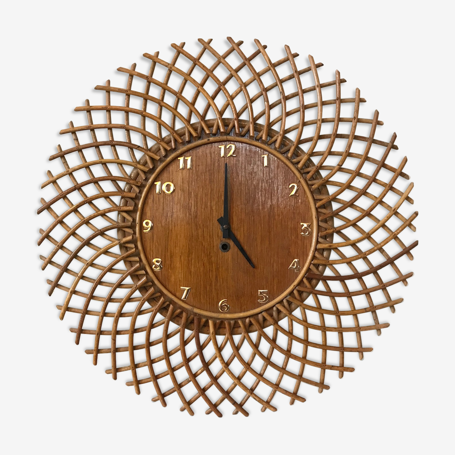 Horloge soleil rotin vintage années 60