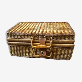 Rattan suitcase two-coloured vintage