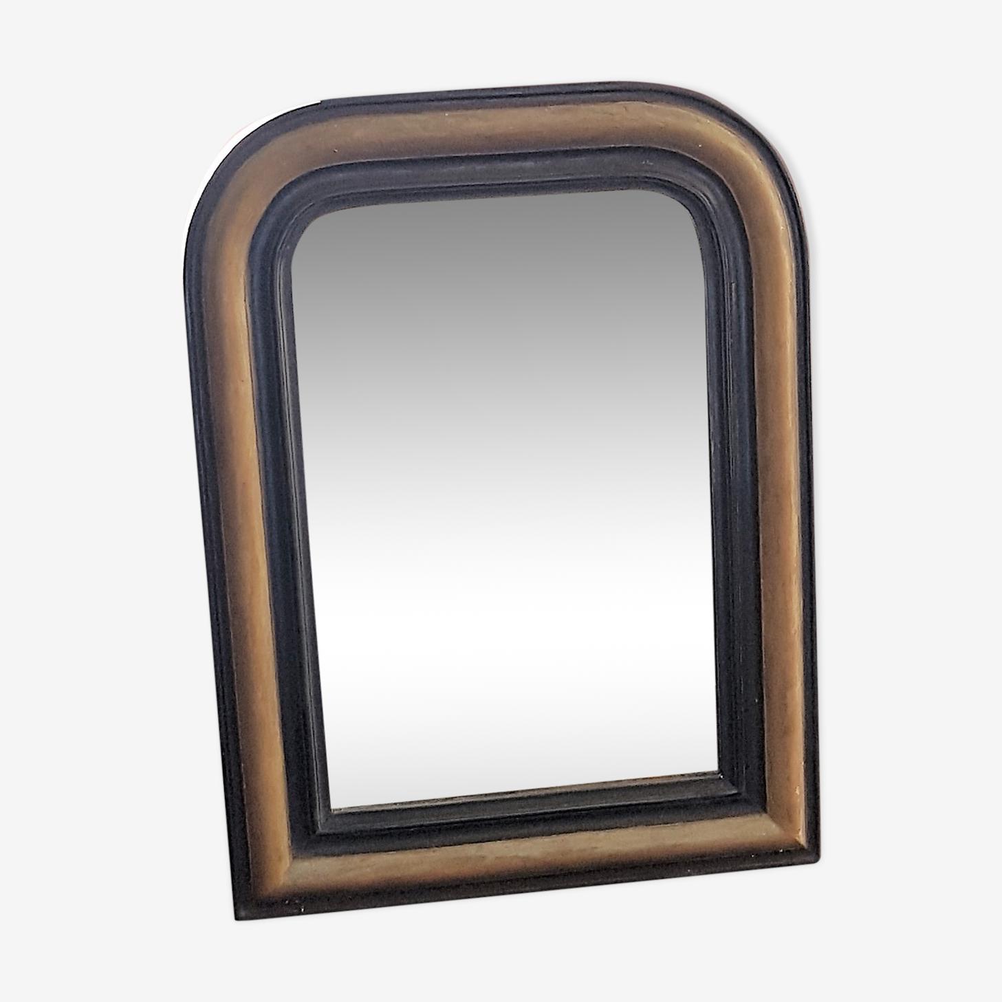 Miroir en bois ancien noir et doré 48x64cm