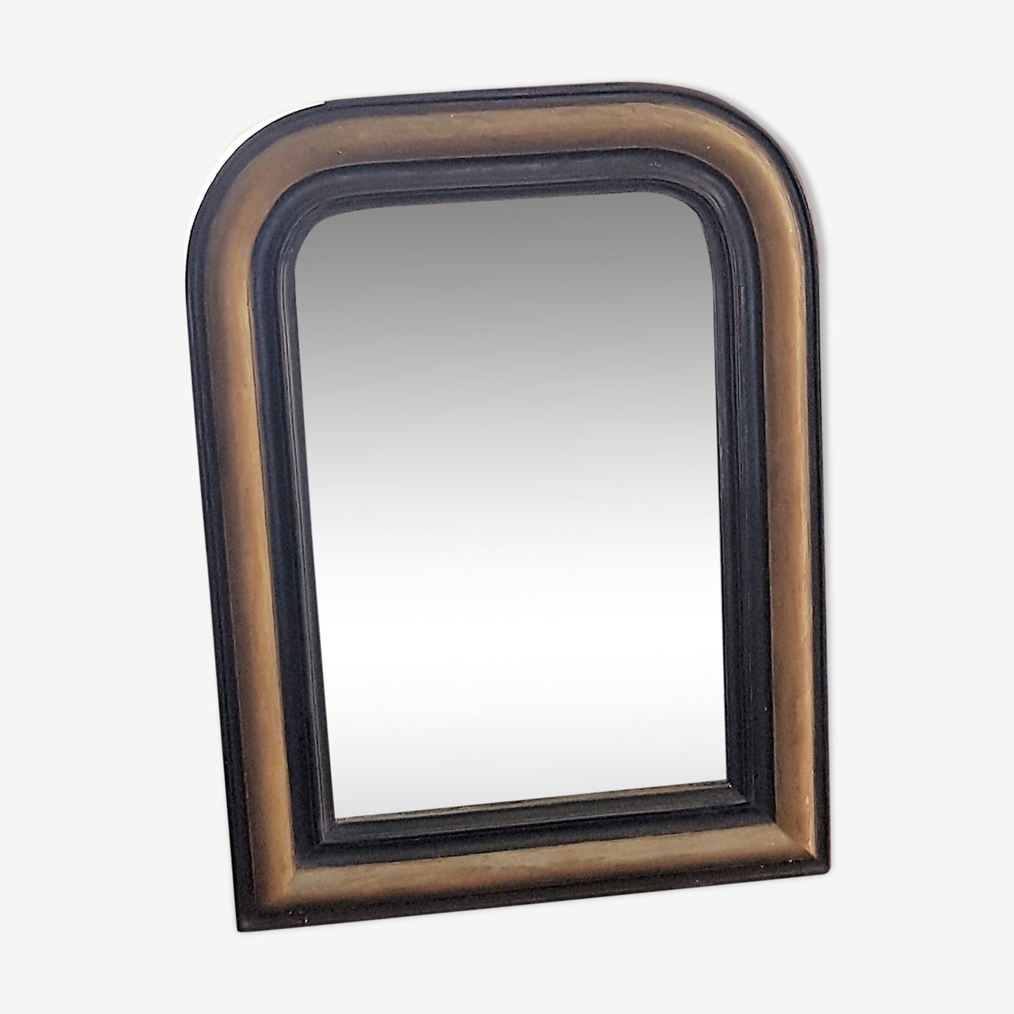 Old black and gold wood mirror 48x64cm