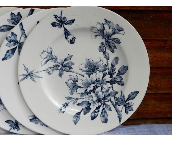 Lot de 4 assiettes à dessert Modèle Azaléa bleu Lunéville K