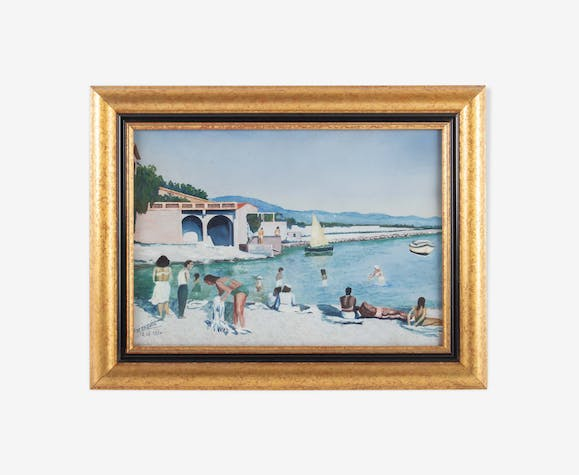 Gouache, beach scene in Sausset-les-Pins, by M Cauvin, dated 12.12.1954