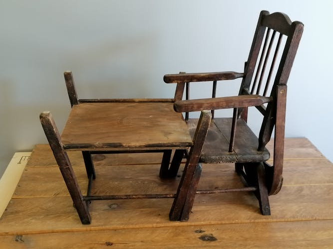 High chair Luterma for doll bather baby. Early 20th century.
