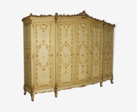 Armoire 5 Portes Meuble Style Ancien Venitien En Bois Peint Et Dore Selency