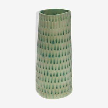 Water green enamelled sandstone craft vase
