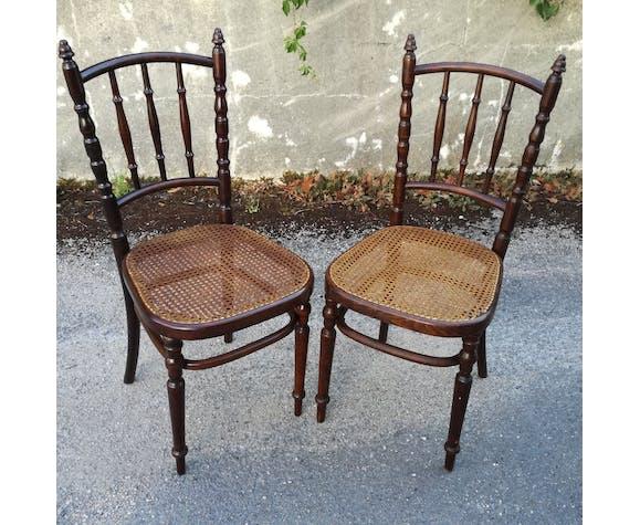Paire de chaises de bistrot cannées par Fischel - 1930