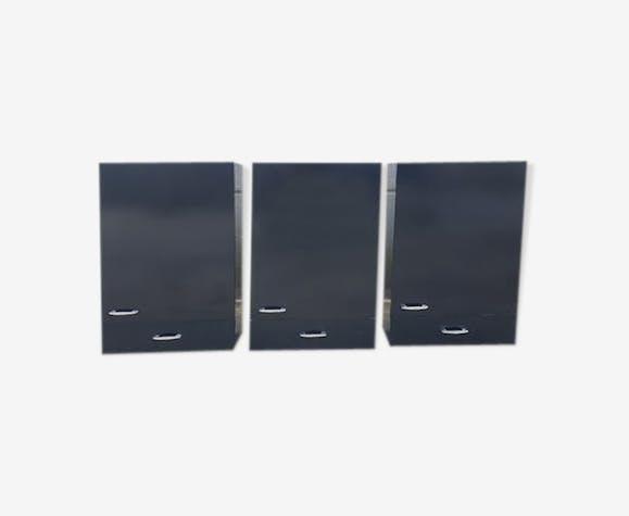 Lot de 3 placards formica noir de salle de bain années 70 ...