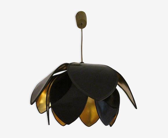 Suspension lampe fleur pétales noirs et dorés vintage