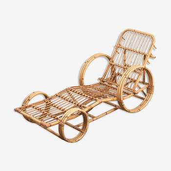 Chaise longue en rotin, pays-bas années 50