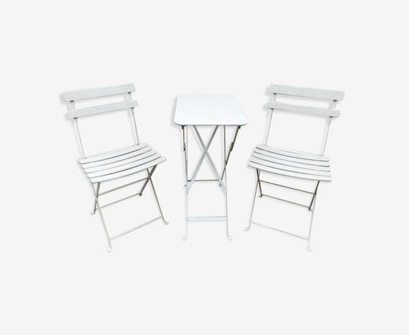 Table et chaises pliantes en métal - métal - blanc - vintage ...