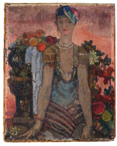 Modern painting, woman with fruit, Art deco