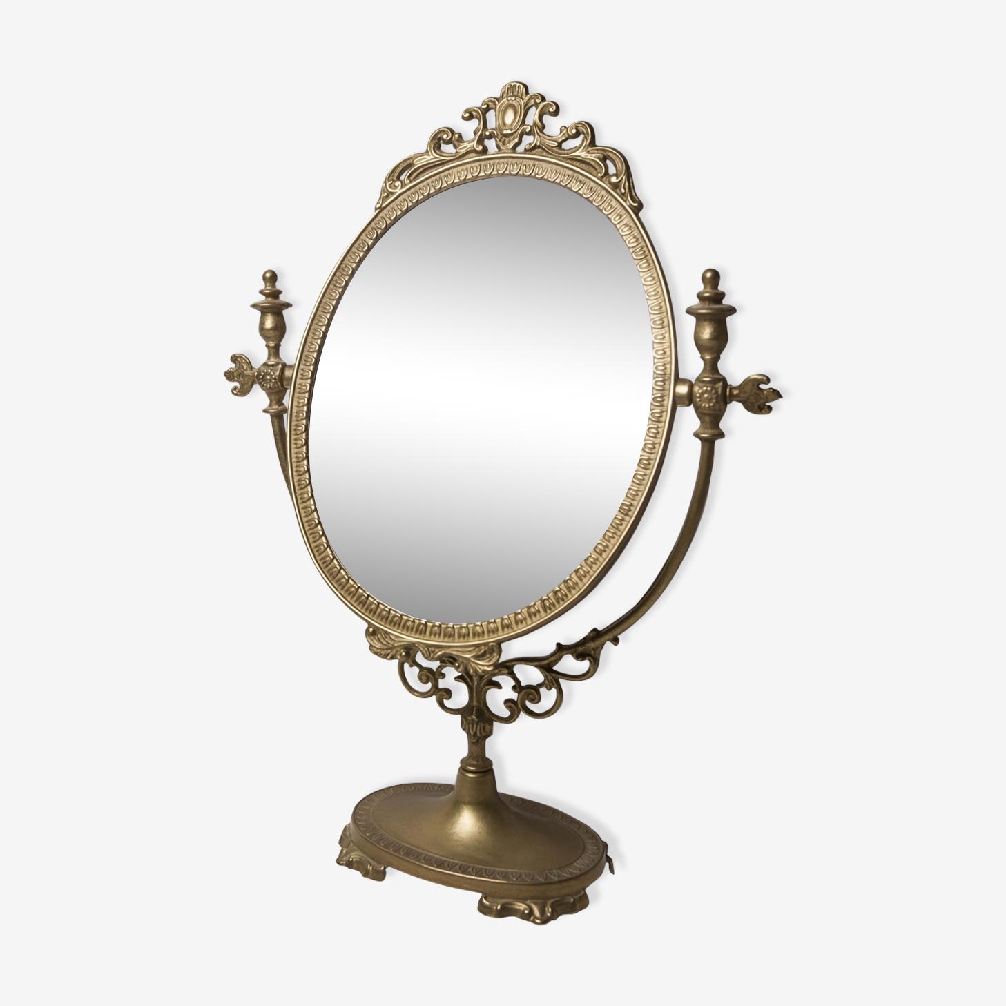 Miroir psyché laiton début XXeme 27x38cm
