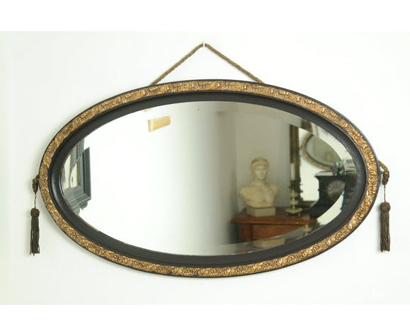 Black And Gold Oval Art Deco Mirror Selency