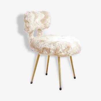 Chair cozy faux fur white