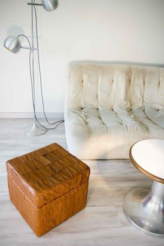 Pouf coffre De Sede carré en patchwork de cuir 70