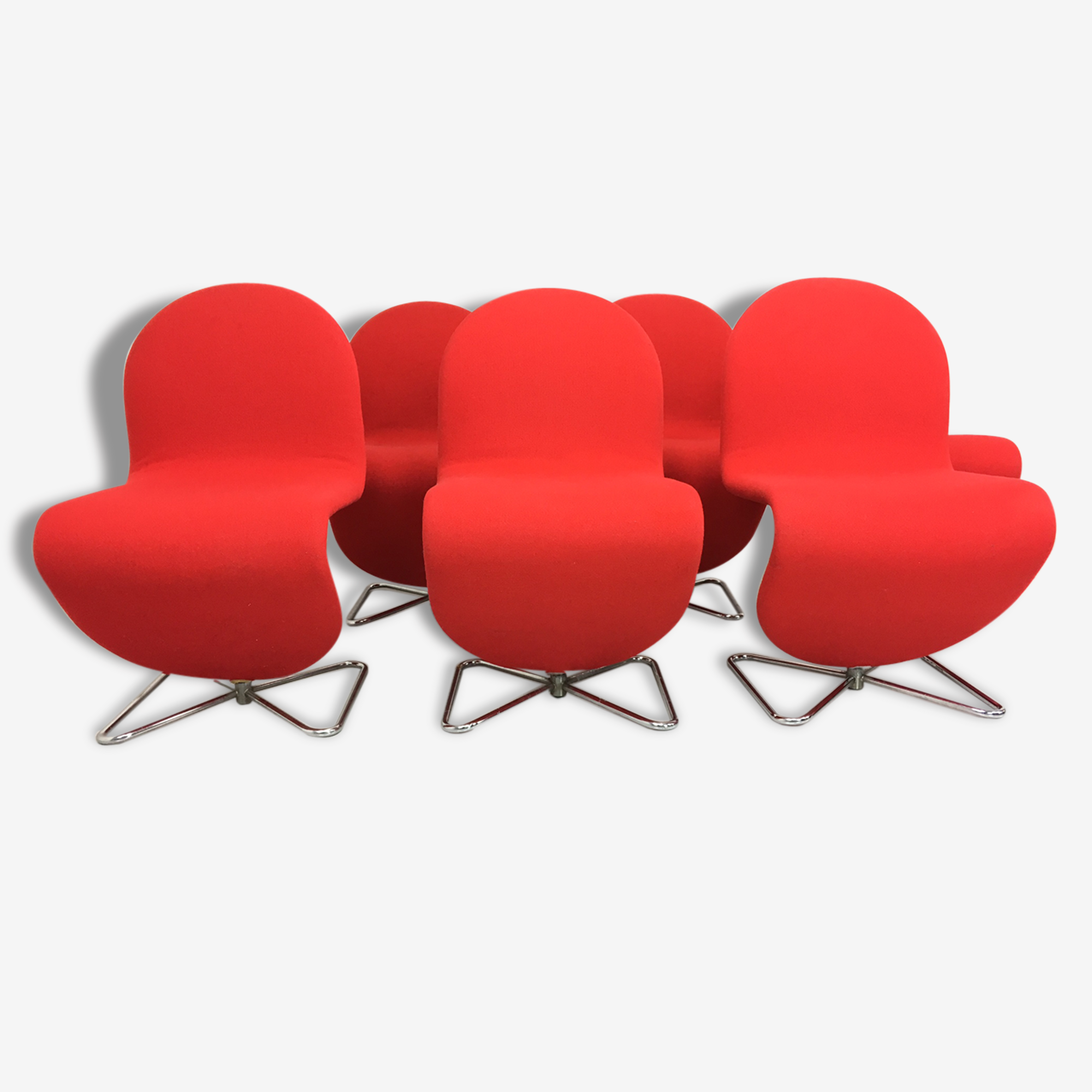 System 123 Chairs by Verner Panton for Fritz Hansen, 1973, Set of 4