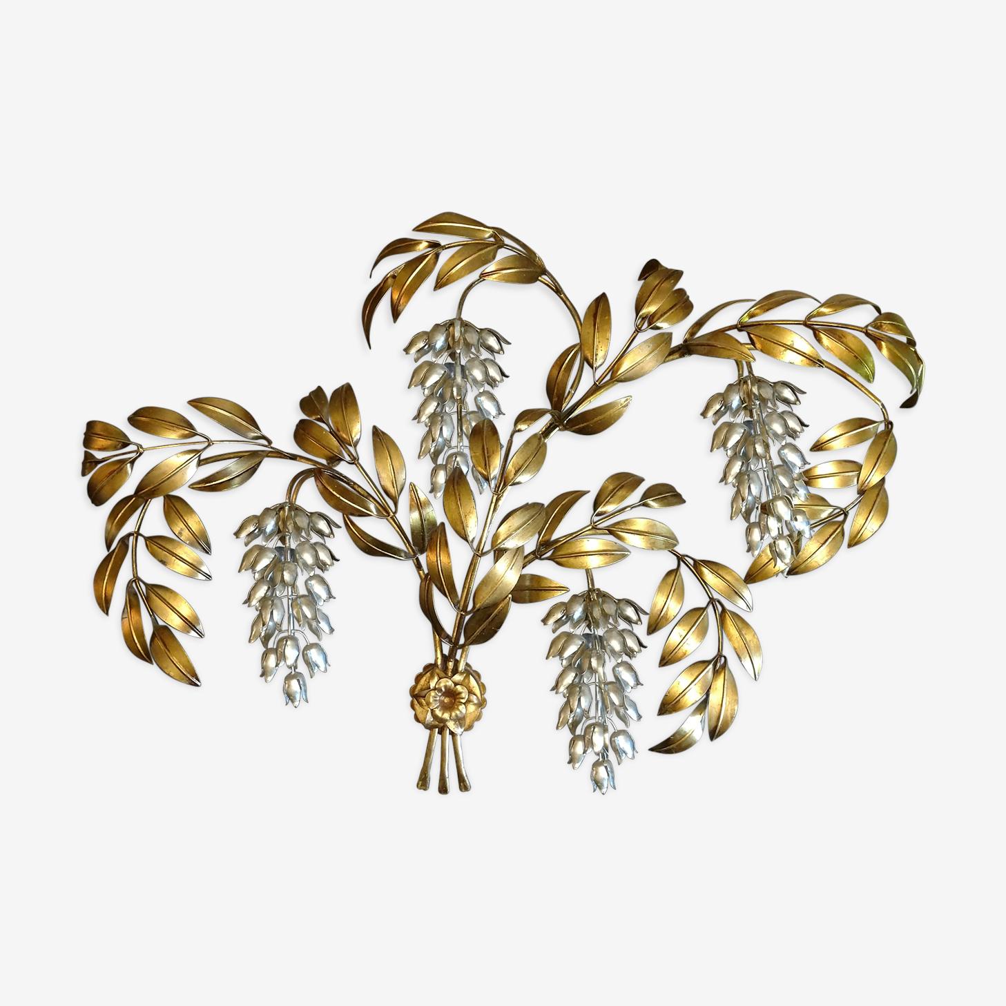 Applique Hans Kögl feuilles de palmier dorées 4 feux 1960