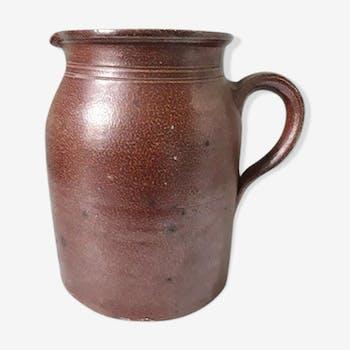 Old glazed stoneware pitcher