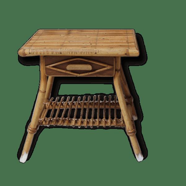 petite table en bambou rotin et osier vintage 23919. Black Bedroom Furniture Sets. Home Design Ideas