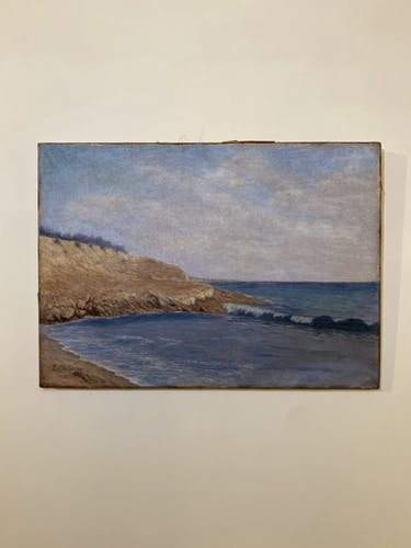 Tableau ancien, paysage au bord de mer signé Louis Debiesse circa 1920