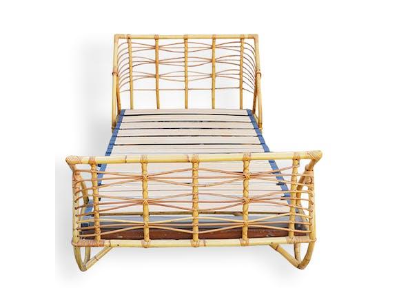 lit corbeille vintage en rotin ann es 60 rotin et osier vintage 11184. Black Bedroom Furniture Sets. Home Design Ideas