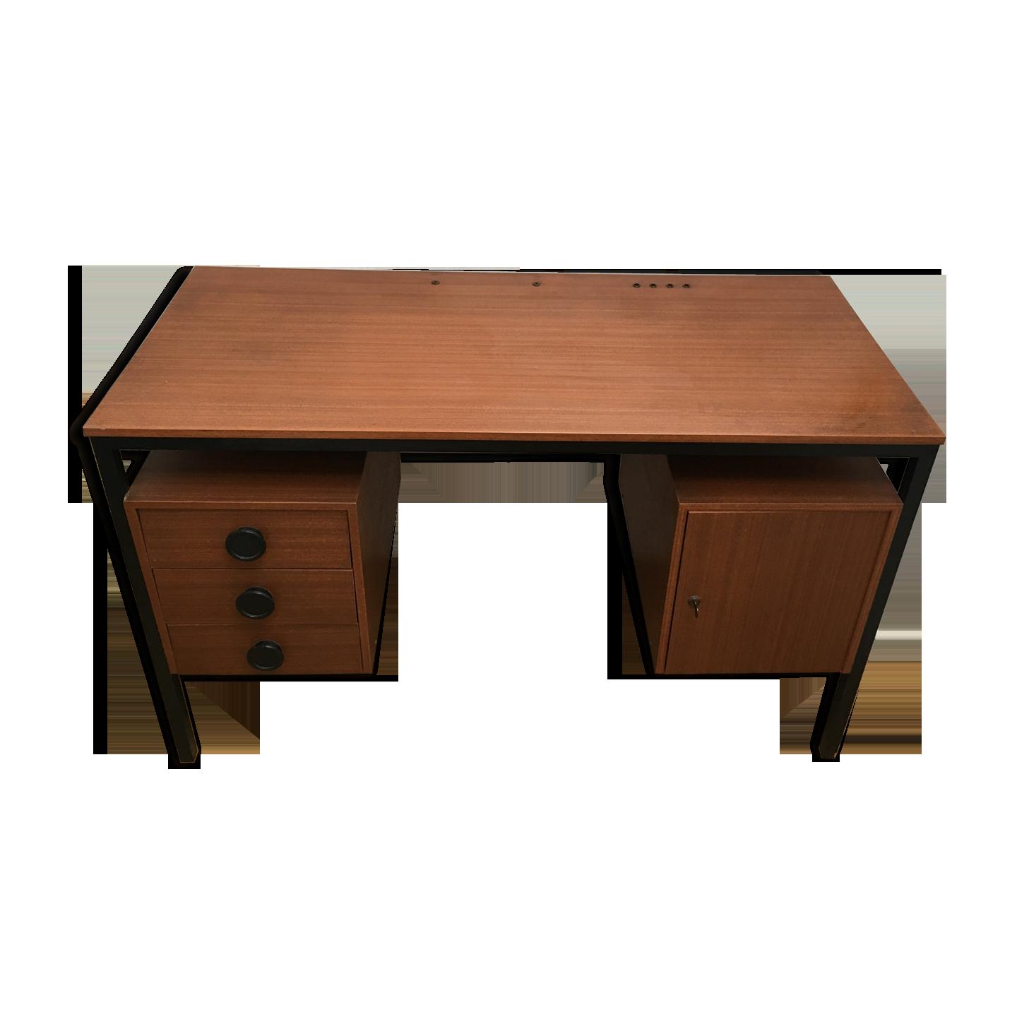 Bureau vintage bois et metal années formica bois