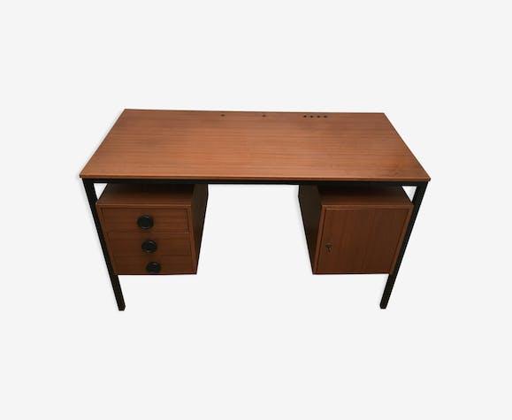 Bureau vintage bois et metal années 60 70 formica bois couleur
