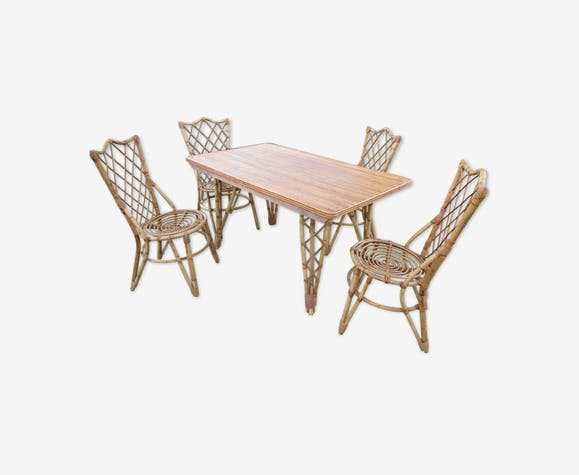 Salon, table et chaises de jardin en bambou - rotin et osier ...