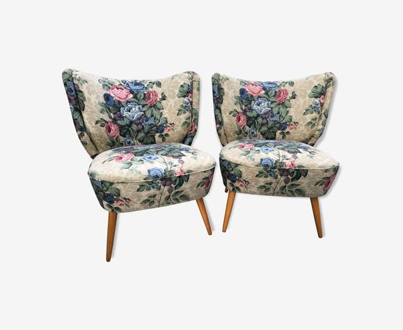 Paire de fauteuils cocktail fleuris vintage