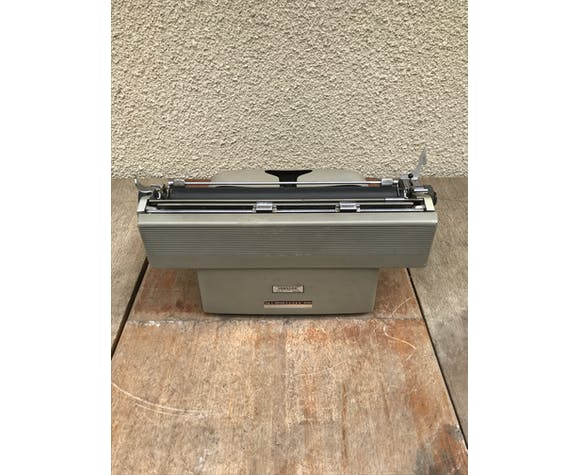 Machine à ecrire Olivetti Lexikon 80 métal gris avec housse vintage