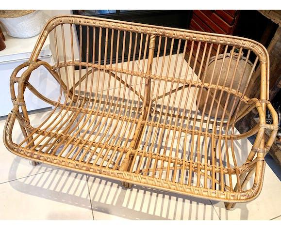 Vintage rattan bench sofa