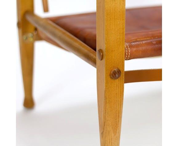 Cognac leather safari chair by Kaare Klint for Rud Rasmussen, Denmark, 1960s