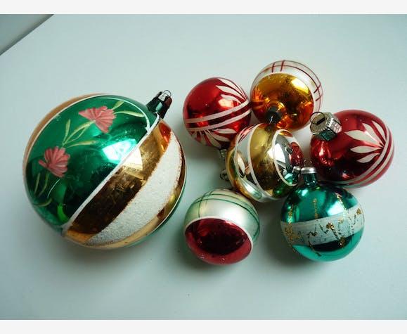 anciennes boules de no l verre et cristal multicolore vintage 38173. Black Bedroom Furniture Sets. Home Design Ideas