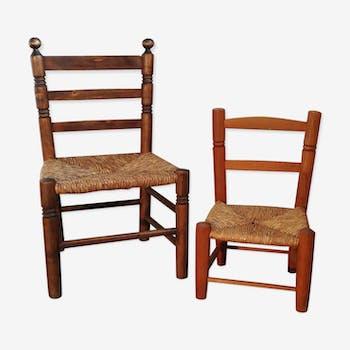 Duo de chaises bois et paille