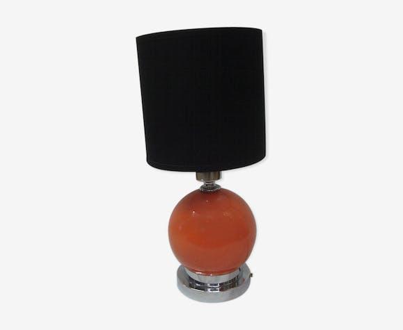 Lampe boule orange de 1970 chrome & céramique
