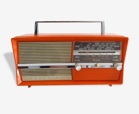 poste de radio optalix plastique orange vintage 18906. Black Bedroom Furniture Sets. Home Design Ideas