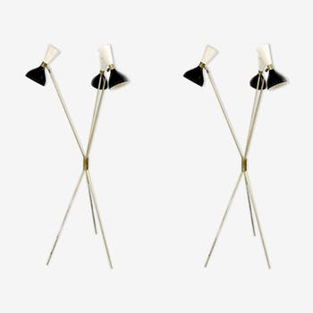 Pair of floor lamps in the style of the Italian creations of the 50s