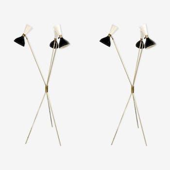 Paire de lampadaires dans le style des créations italiennes des années 50
