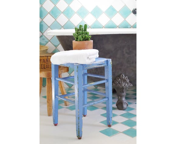 Blue patinated wooden painter's stool