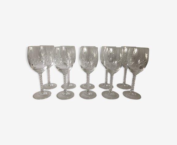 10 verres à vin en cristal gravé, élégants et anciens | Selency